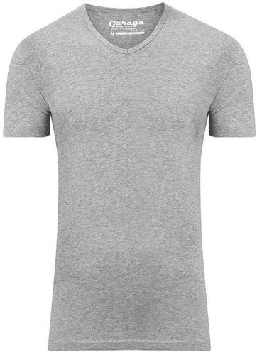 Garage Stretch Basic T-Shirt Grau V-Ausschnitt