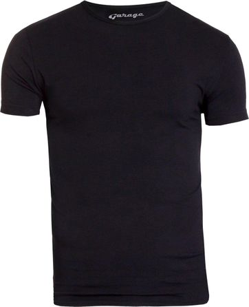 Garage Stretch Basic T-Shirt Schwarz Rundhals