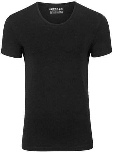 Garage Stretch Basic T-Shirt Schwarz Tiefer Rundhals