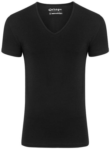 Garage Stretch Basic T-Shirt Schwarz Tiefer V-Hals