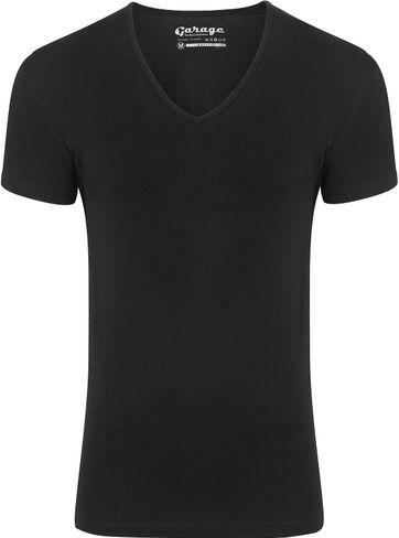Garage Stretch Basic T-Shirt Schwarz V-Ausschnitt