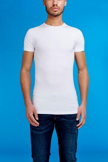 Garage Stretch Basic T-Shirt Weiss Rundhals