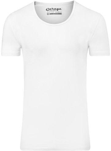 Garage Stretch Basic T-Shirt Weiss Tiefer Rundhals