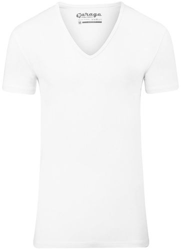 Garage Stretch Basic T-Shirt Weiss Tiefer V-Hals