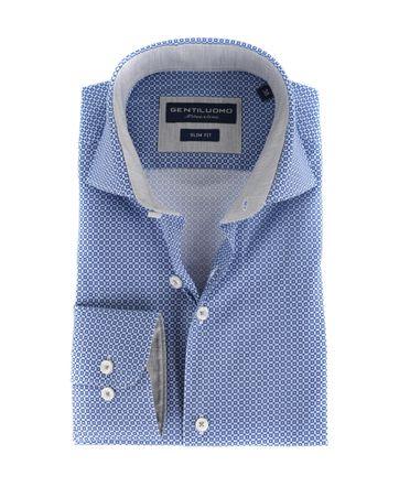 Gentiluomo Overhemd Rivoli Print Navy Blauw
