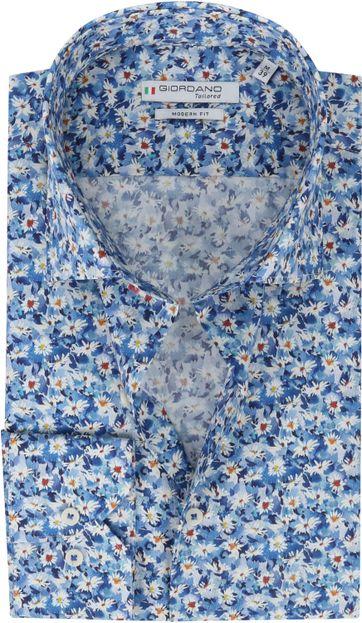 Giordano Hemd Maggiore  Bloemen Donkerblauw