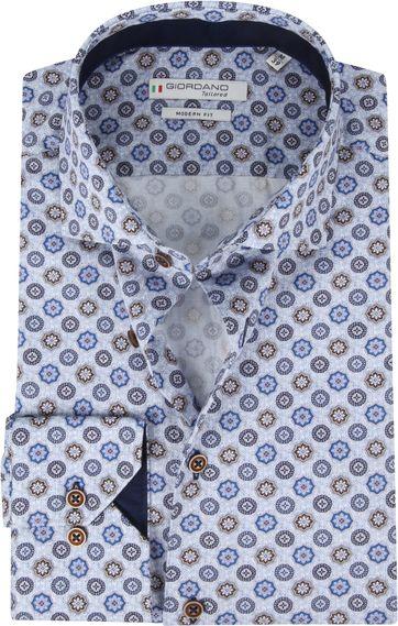 Giordano Hemd Maggiore Retro Blumen Blau