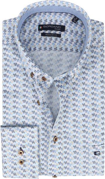 Giordano Overhemd Ivy Patroon Donkerblauw