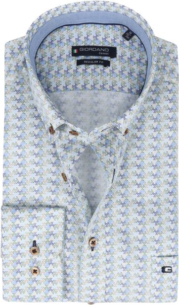 Giordano Overhemd Ivy Patroon Groen
