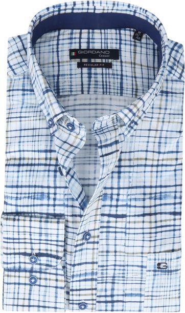 Giordano Overhemd Ivy Ruit Donkerblauw