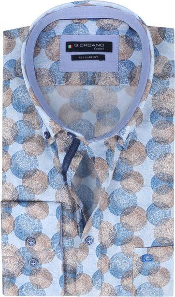 Giordano Overhemd Kennedy Cirkels Bruin