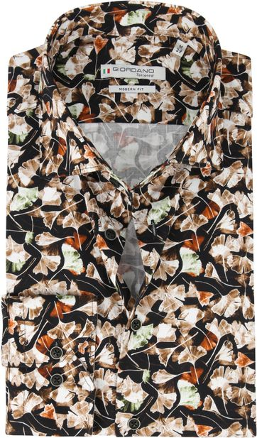 Giordano Shirt Maggiore Leaves Brown
