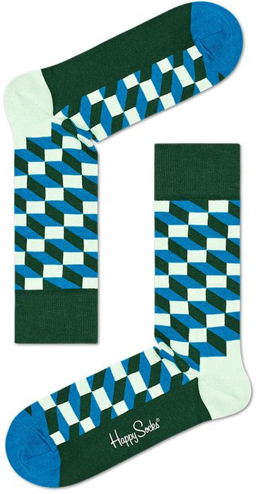 Happy Socks Filled Optic Blauw Groen