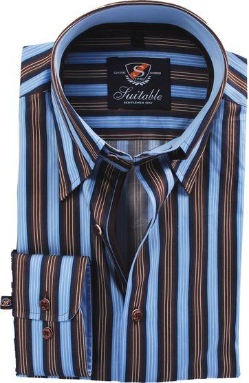 Hemd Hoher Kragen Brauner Blauer Stripe