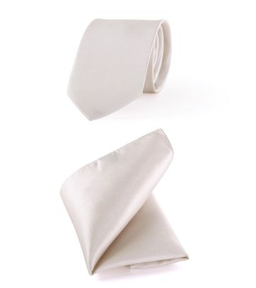 Hochzeit Krawatte + Einstecktuch Carre gebrochenes-Weiß