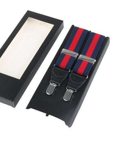 Hosenträger Streifen Navy + Rot