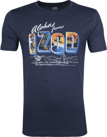 IZOD T-Shirt Print Donkerblauw