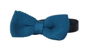Knitted Bow Tie Petrol Blue