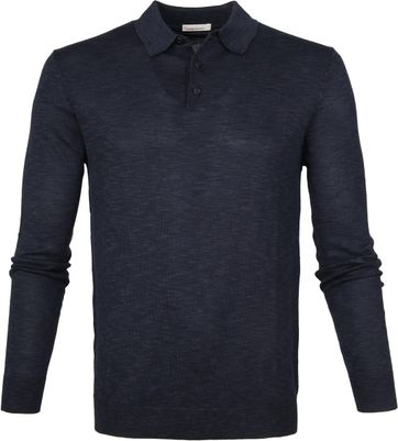 Knowledge Cotton Apparel Longsleeve Polo Navy