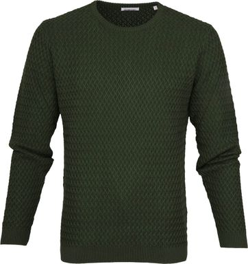 Knowledge Cotton Apparel Pullover Diamond Green