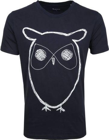 Knowledge Cotton Apparel T-shirt Alder Owl Dunkelblau
