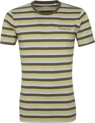 Knowledge Cotton Apparel T-shirt Alder Stripes Dunkelgrun