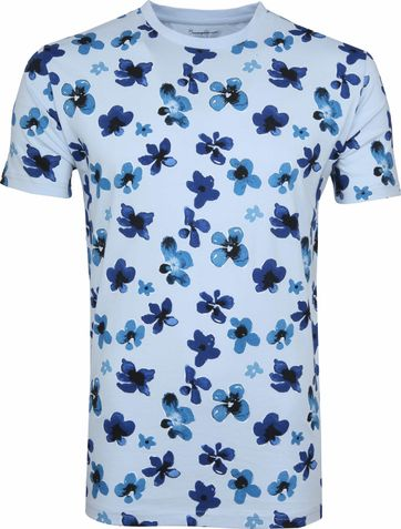 Knowledge Cotton Apparel T-shirt Bloemen Blauw
