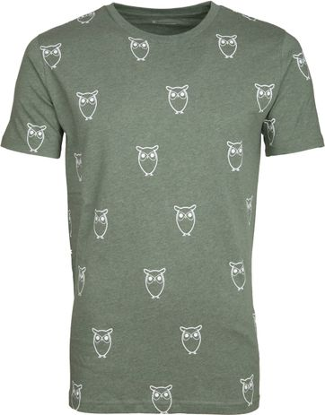 Knowledge Cotton Apparel T-shirt Owl Green