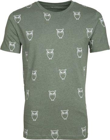 0d8f7818df2c03 Knowledge Cotton Apparel T-shirt Owl Green