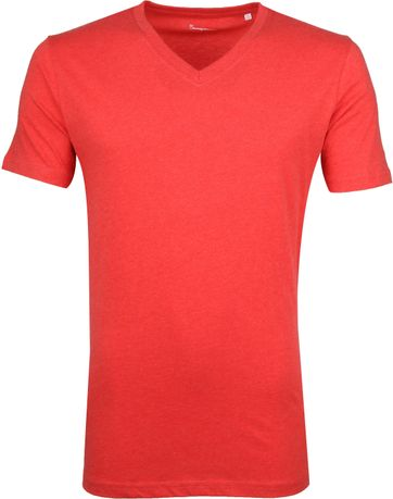 Knowledge Cotton Apparel V-Neck Rot