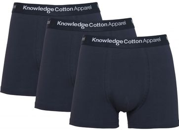 KnowledgeCotton Apparel Boxershorts Maple 3-Pack Donkerblauw