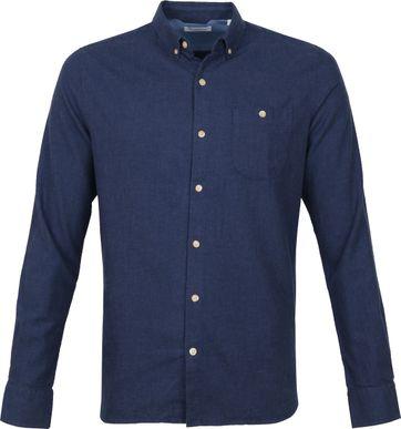 KnowledgeCotton Apparel Elder Overhemd Donkerblauw