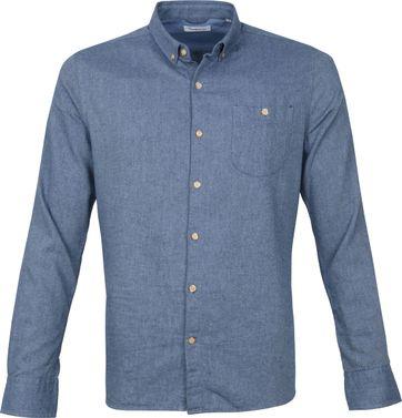 KnowledgeCotton Apparel Elder Overhemd Lichtblauw