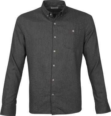 KnowledgeCotton Apparel Elder Shirt Anthracite