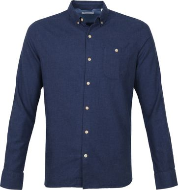 KnowledgeCotton Apparel Elder Shirt Dark Blue
