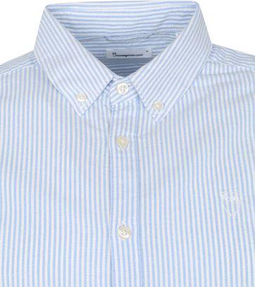 KnowledgeCotton Apparel Elder Strepen Hemd Lichtblauw