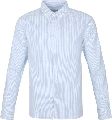 KnowledgeCotton Apparel Elder Stripes Shirt Light Blue