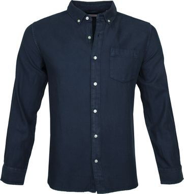 KnowledgeCotton Apparel Overhemd Twill Navy