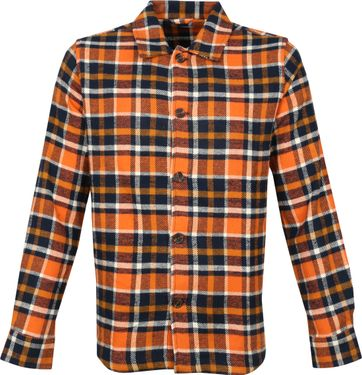KnowledgeCotton Apparel Overshirt Ruit Oranje