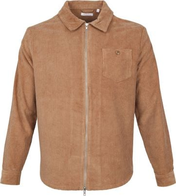 KnowledgeCotton Apparel Overshirt Wales Cognac