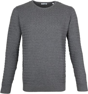 KnowledgeCotton Apparel Pullover Field Dark Grey