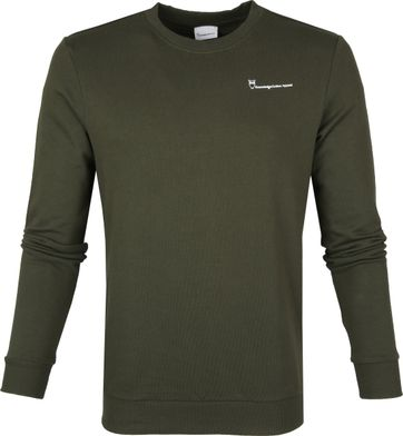 KnowledgeCotton Apparel Pullover Logo Dark Green