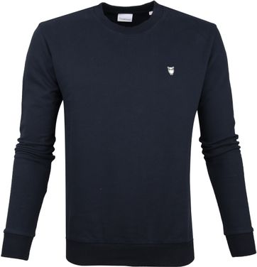 KnowledgeCotton Apparel Pullover Logo Navy