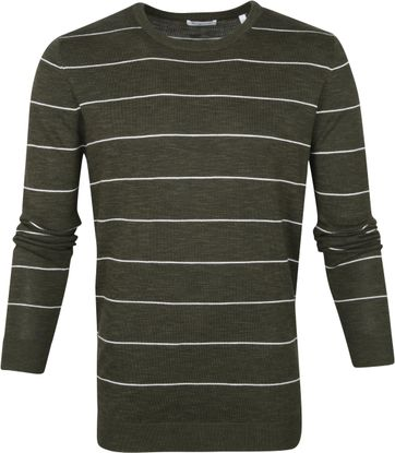 KnowledgeCotton Apparel Pullover Stripes Dark Green