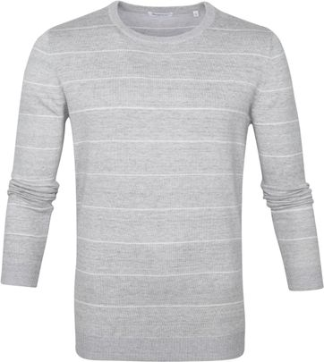 KnowledgeCotton Apparel Pullover Stripes Grey