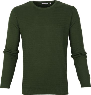 KnowledgeCotton Apparel Pullover Waves Dark Green