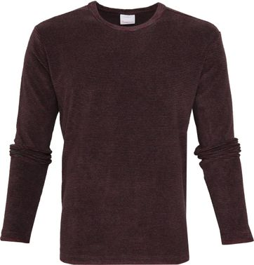 KnowledgeCotton Apparel Streifen Pullover Bordeaux