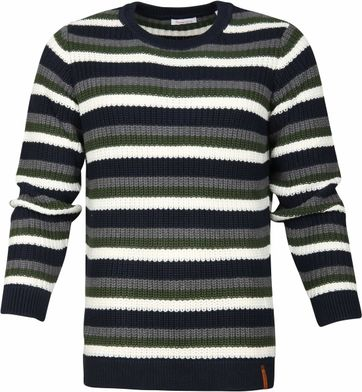 KnowledgeCotton Apparel Striped Rib Pullover