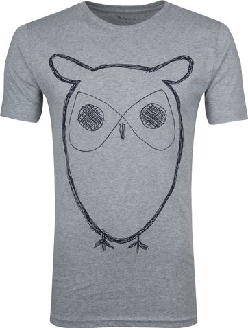 KnowledgeCotton Apparel T-shirt Alder Owl Grijs