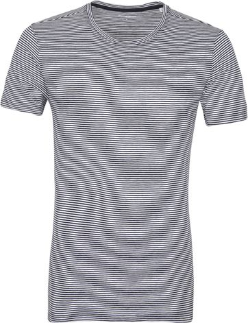 KnowledgeCotton Apparel T-shirt Alder Stripes Donkerblauw